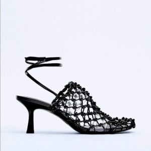 NWT Zara Knotted Mesh Heeled Sandals in Black